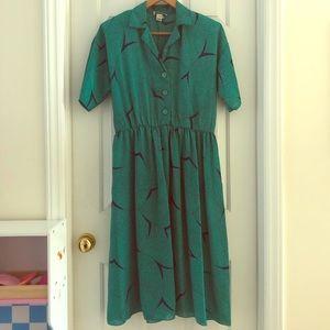 Vintage Green Button Up Dress